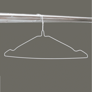 White notched wire hangers W2WN